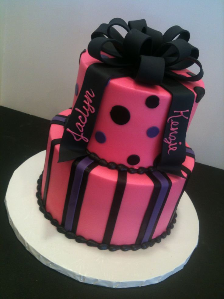 Pink bow Cakes | Hot pink, black bow cake