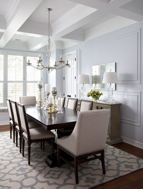 grey dining room chairs next. this is so pretty.. love the ceiling, wall color, chairs/table grey dining room chairs next a