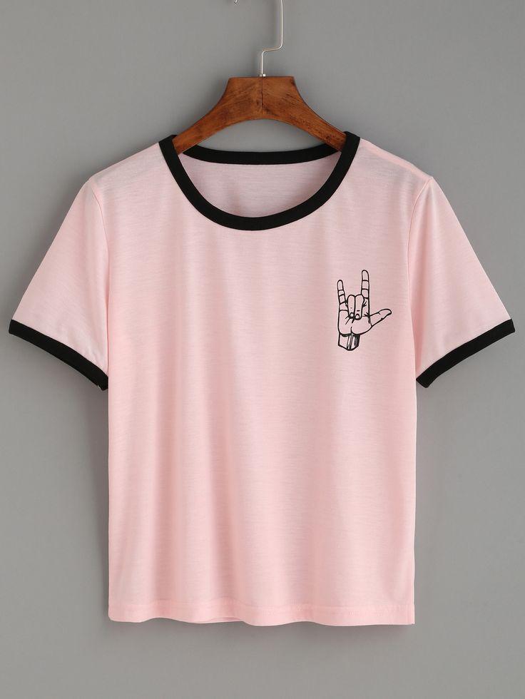 Pink Contrast Trim Love Gesture Print T-shirt — 0.00 € ----------color: Pink size: L,M,S,XL