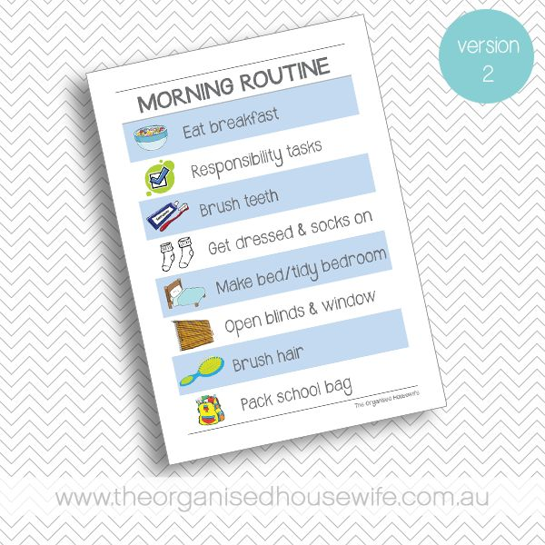 {The Organised Housewife} Morning Routine Chart - Blue - Version 2