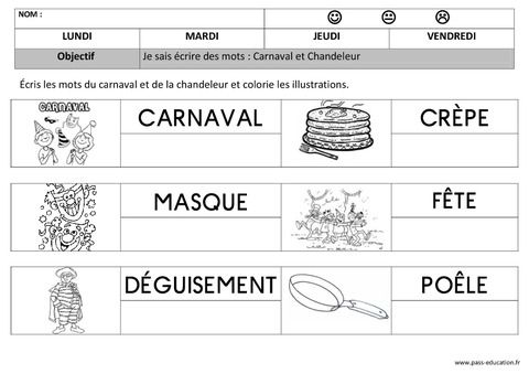 Carnaval - Chandeleur - Ecriture - Maternelle - Petite section - Moyenne section - Cycle 1 - Pass Education