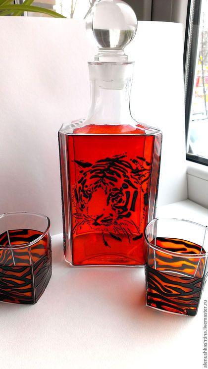 Графины, кувшины ручной работы. Ярмарка Мастеров - ручная работа. Купить Набор для виски «Тигр». Handmade. Витраж, графин, стекло
