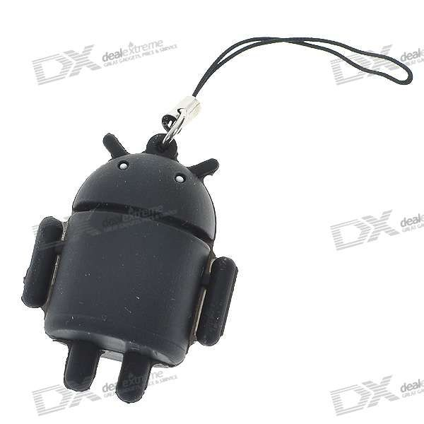 Cute Android Robot Cell Phone Strap - Black - Free Shipping - DealExtreme