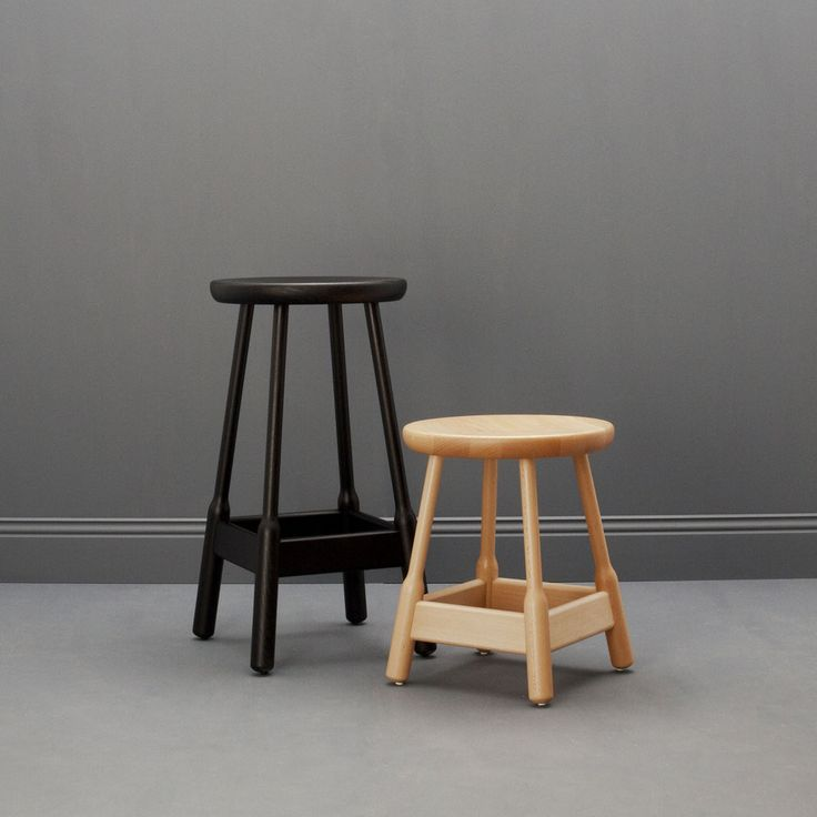 ALBERT SERIES STOOLS BY CHRIS MARTIN |  Solid wood stool. Available as a bar stool or a shorter model. | Stool: Height 500mm x Width 375mm x Depth 375mm,  Bar Stool: Height 740mm x Width 375mm x Depth 375mm