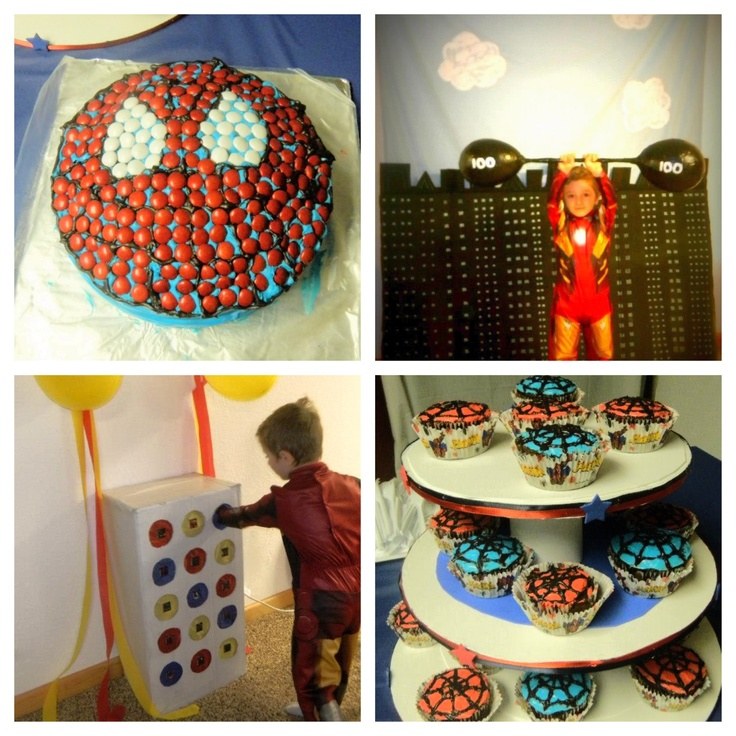Superhero party - Spider-Man cake, city backdrop from cardboard for photo booth with weights made by paper mâché, punch game for prizes, and spiderweb cupcakes on home made cupcake stand.