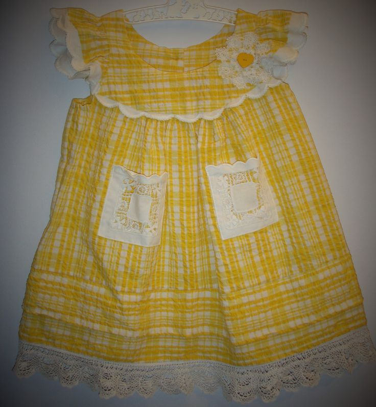 Girl's dress, vintage lace, size 2-3, hand sewn, unique, yellow, seersucker, girl's clothing, birthday present, summer sunshine, vintage by LittleLarkClothing on Etsy