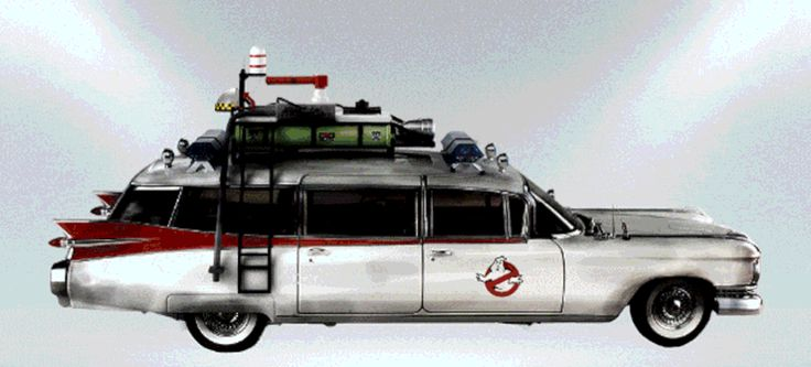 The Ghostbusters' car, ECTO-1, has always been a white Cadillac.    (Image: Gearheads.org)The Ghostbusters' car, ECTO-1, has always been a white Cadillac. Specifically a 1959 Cadillac Miller-Meteor ambulance in the original movie, a slightly mod'd version in Ghost   http://jalopnik.com/image-gearheads-org-the-ghostbusters-car-ecto-1-h-1784062496