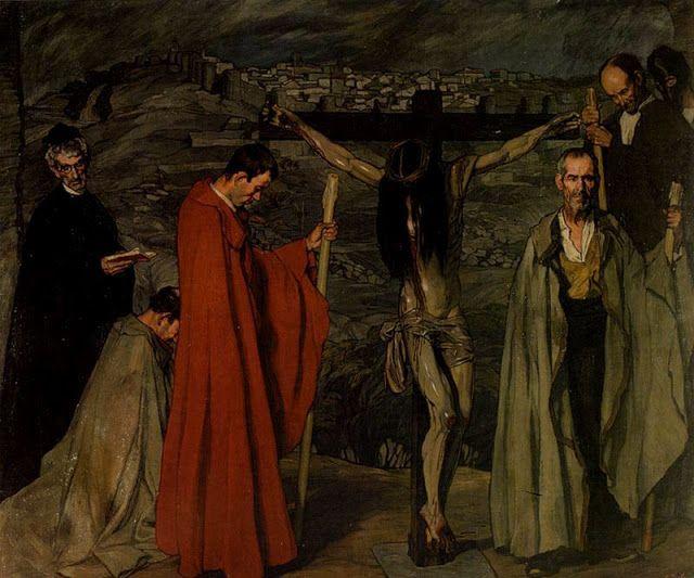 """""""La Hermandad de Cristo Crucificado"""". 1911.  Óleo sobre lienzo. 248 x 302 cm.  Museo Nacional Centro de Arte Reina Sofía. Madrid. España."""
