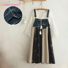 Japoński mori dziewczyna nowa moda luźne dorywczo denim patchwork bawełna drukuj strap dress 2017 lato kobiety dress(China (Mainland))