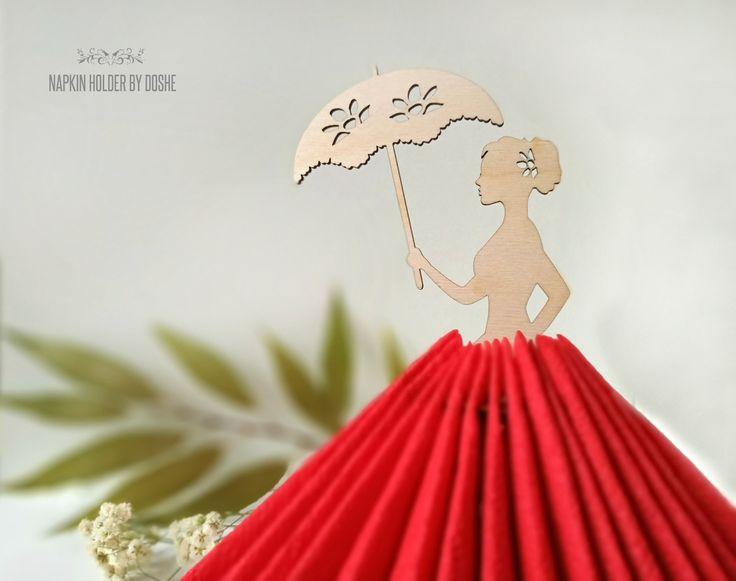 NAPKIN HOLDER Lady with Umbrella – Wedding Table decor – Laser cut wood Centerpiece