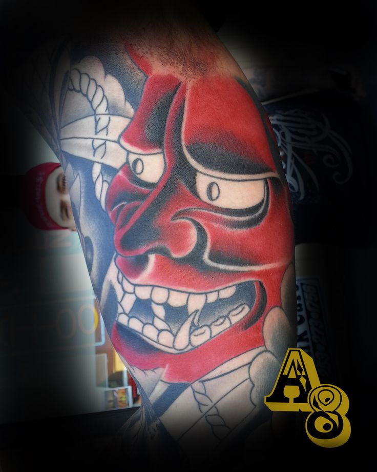 Japanese oni mask tattoo done by chad from aces and eights tattoo in lakewood, wa, Aces-n-Eights tattoo, A8