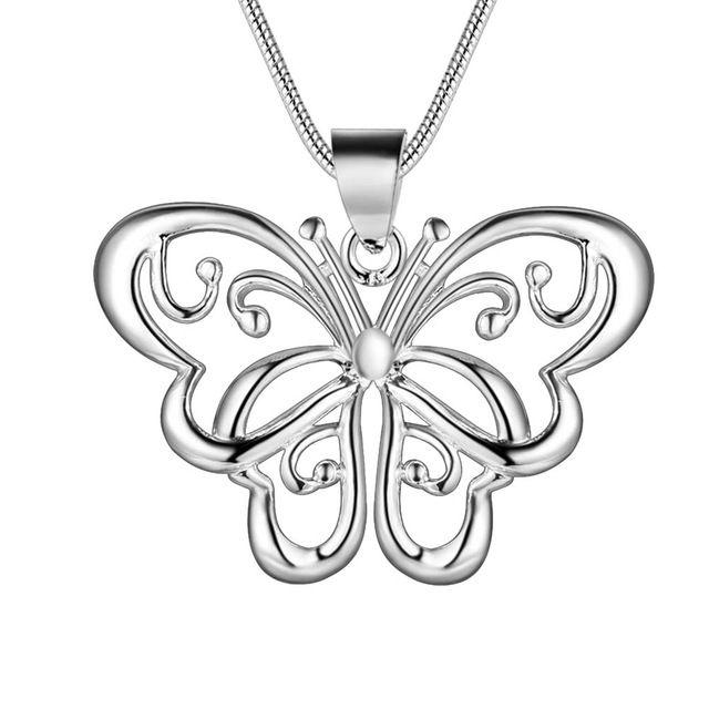 Оптовая посеребренные шарм jewelrys Ожерелье, бесплатная доставка 925 штампованные ювелирные изделия кулон arabesquitic бабочка AN153