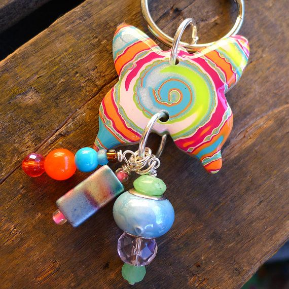 Butterfly Key ring Kid's key ring back pack by purplecactusstudios