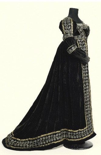 Sold by Christies - Court Dress: ca. 1810-1820, velvet trimmed with metallic lace throughout, slightly trained.