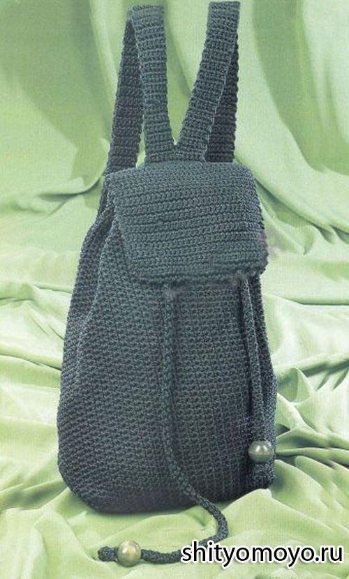 Зеленый рюкзак, связанный крючком своими руками