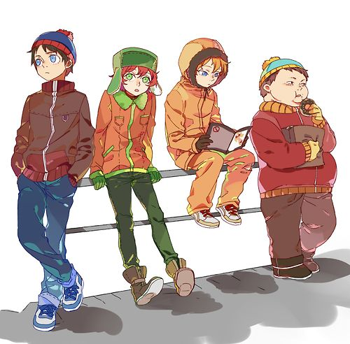 South Park - Stan, Kyle, Kenny, and Cartman... LOL Cartman looks fat in this picture! Well actually it isn't suprising: He's always fat.