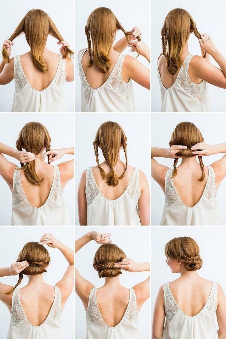 delle immagini tutorial per realizzare delle acconciature capelli lunghi con delle trecce raccolte in uno chignon