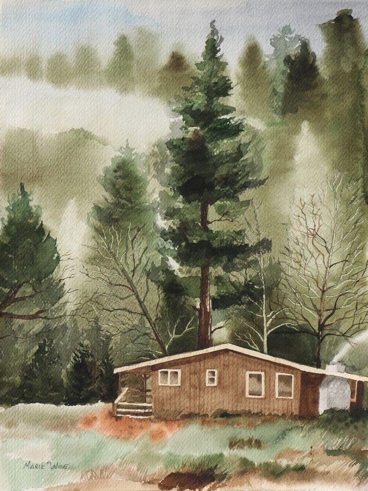 Kabine Im Wald Landschaft Original Aquarell 13 X 17 Wandkunst