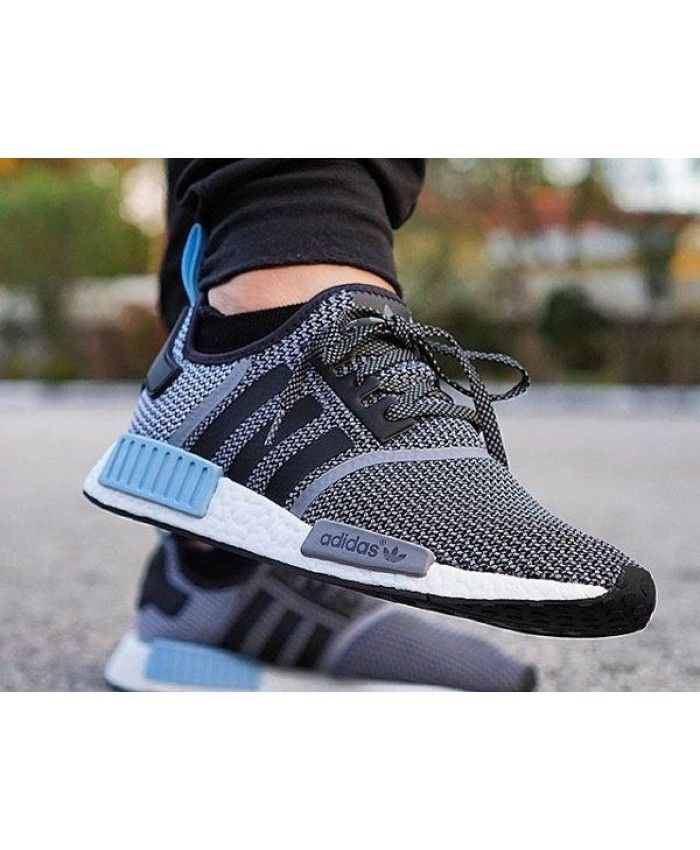 outlet store 02f7a cf545 Trendy Sneakers Running. Adidas NMD R1 Mens Grey Woven Blue White Shoe