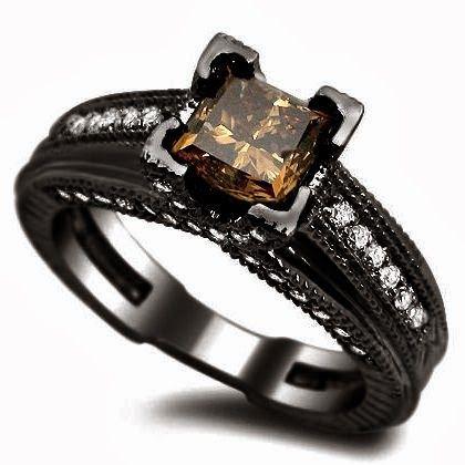 chocolate diamond princess cute ring | brown princess cut diamond engagement ring brown princess cut diamond ...