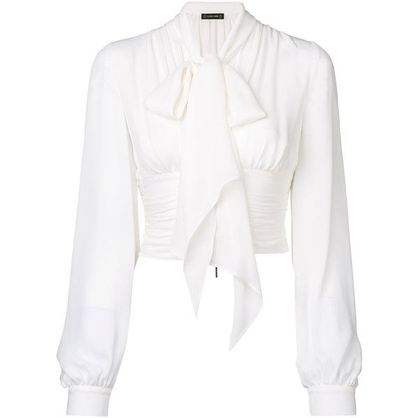 Plein Sud bow detail blouse (170 KWD) ❤ liked on Polyvore featuring tops, blouses, white, bow top, silk top, bow blouse, white top and white bow blouse