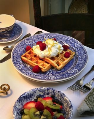 Lemon Waffles served at Burlington Willis Graves BB