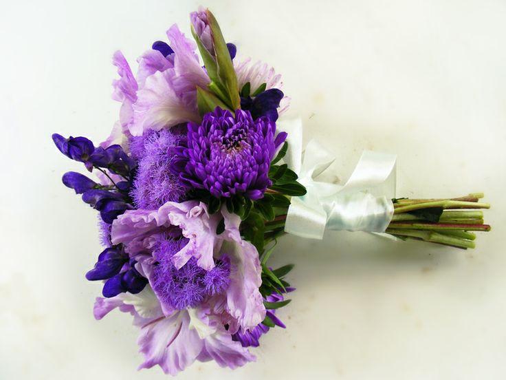 violet colour garden wedding bouquet
