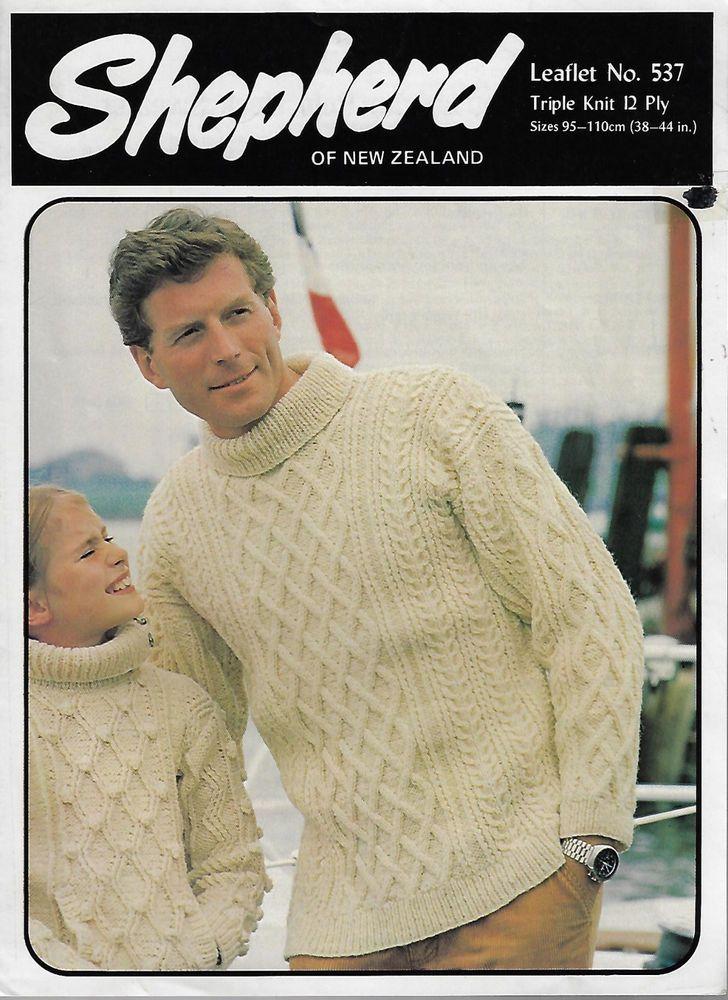 e8d0503e6 Men s Cable Aran Sweater Shepherd 537 vintage knitting pattern 12 ply yarn   Shepherd