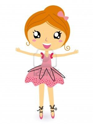 Cute dancing ballerina girl. Vector cartoon Illustration