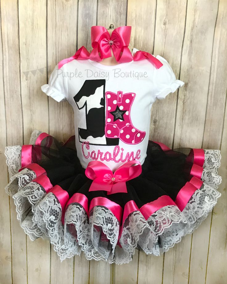 Cowgirl Birthday Outfit - Cowgirl Birthday Ribbon Trimmed Tutu Set - Cowgirl Boot Shirt - Cow Print - First Birthday - Black and Pink - Lace by PurpleDaisyBoutique on Etsy https://www.etsy.com/listing/519931744/cowgirl-birthday-outfit-cowgirl-birthday