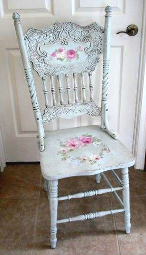 I have a set of 6 of these antique chairs in baby blue minus the shabby chic roses.