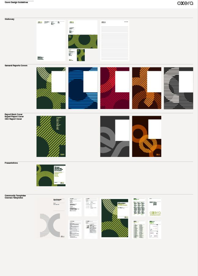Oxera corporate identity guidelines. Designed as a poster which is displayed within the marketing, press, editorial and production departments.