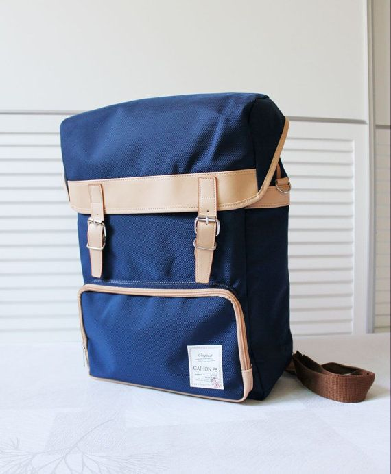 GJ426 Colorful Big Backpack Navy by BagDoRi on Etsy, $68.20