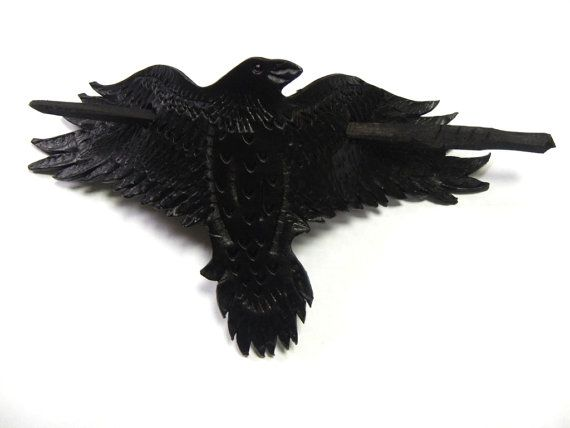 Cuero pelo pin Cuervo de vuelo prender el pelo de por RozaBracelets