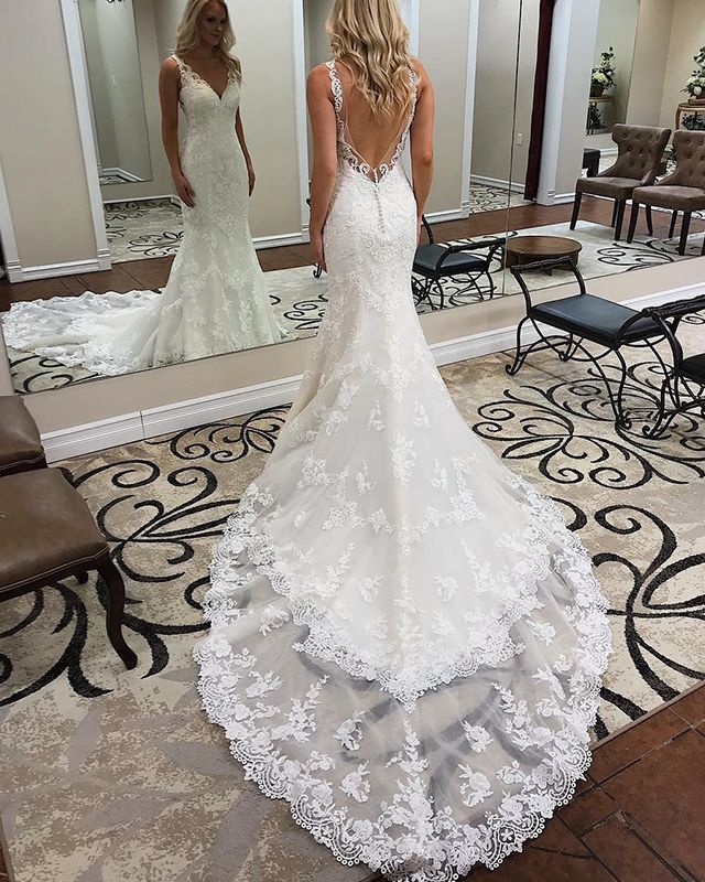 Elegant V-neck Lace Appliqued Mermaid White Marriage ceremony Gown