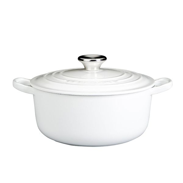 White Le Creuset Pot. This is a BuyMeOnce product which means it's best in show when it comes to longevity.