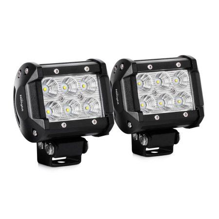 Nilight 2PCS 18W 1260lm Spot Driving Fog Light Off Road Led Lights Bar Mounting Bracket for SUV Boat 4 inch Jeep Lamp,2 years Warranty