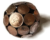 Mini mixed world coin ball, Coin sphere, Metal sculpture ornament.  I really want this!!!
