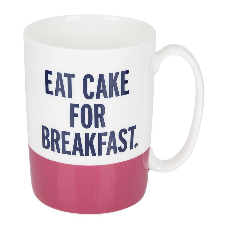 Add humour to your morning tea break with this charming Eat Cake For Breakfast mug from kate spade new york. Made from luxurious china, this stunning mug features the wording 'eat cake for breakfast. #afflink