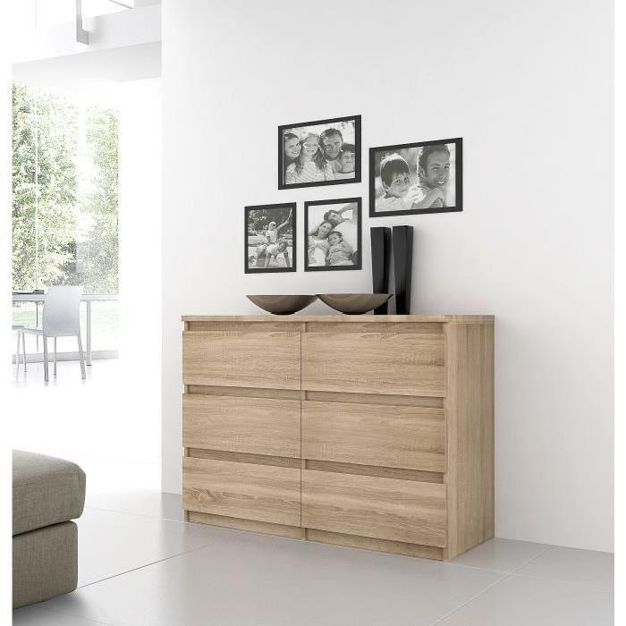 Panneaux de particules décor chêne - L 110 x P 42,2 x H 79,9 cm - 6 tiroirs - Fabrication européenne