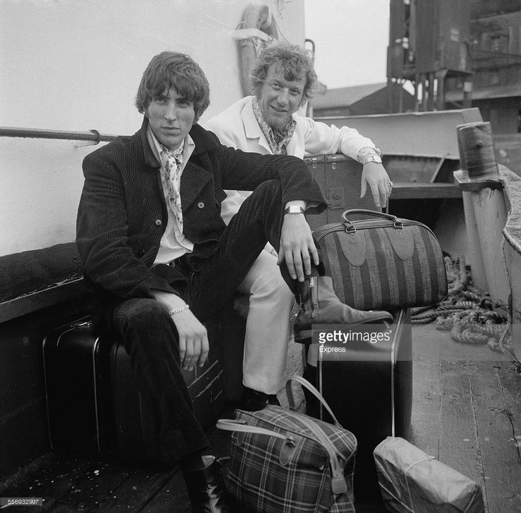 Disc jockeys Johnnie Walker (left) and Robbie Dale, of ship-based pirate radio station Radio Caroline South, at Felixstowe after the British government outlawed the station under the Marine Broadcasting Offences Act, 14th August 1967.