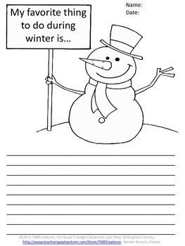 Winter Language Arts Writing Activities