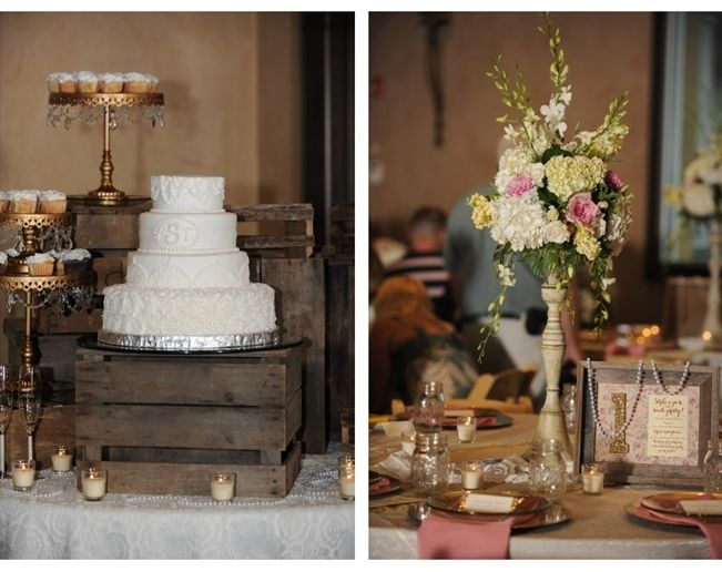 Sweet Violet Bride - (Left) Rustic wedding cake and cupcakes on wooden crates. Cake features lace, rosettes, and monogram. (Right) Tall wedding hydrogen centerpieces #rusticwedding #crates