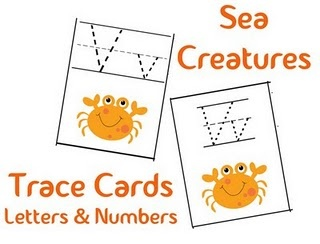 Tracing letters-sea creatures.