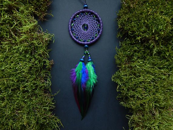 Crystal dream catcher rear view mirror charm car decor hanging mobile pendant hippie bohemian Native American feather gemstone accessory