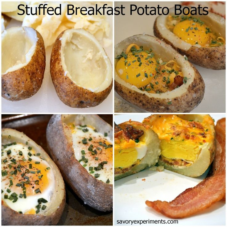 Stuffed Breakfast #Potato Boats- perfect for guests, throw in any ingredients you have in your fridge, veggies, meats, cheese... PIN NOW!