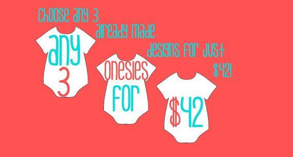 Sale Clearance Discount Baby Clothes 3 onsies by LivAndCompanyShop, $42.00