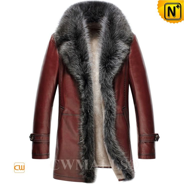 CWMALLS® Raccoon Fur Trim Shearling Leather Coat CW807613 (Updated Styles 2017)  CUSTOM MADE fur trim shearling leather jacket at CWMALLS Store, crafted from natural lambskin shell and shearling lining, designed with raccoon fur trim collar and front, CWMALLS fur shearling coat brings you the warmness for men's cold weather wearing.  www.cwmalls.com