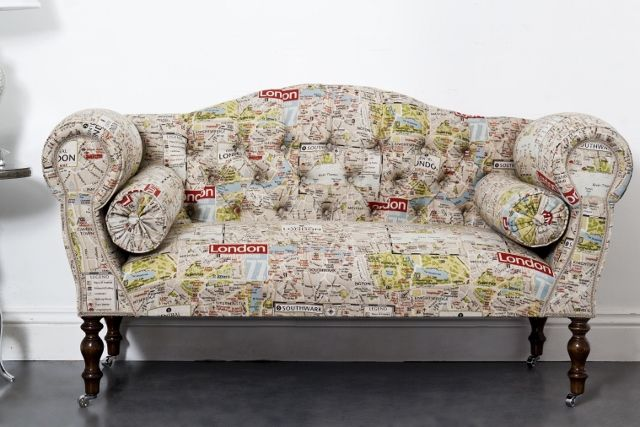 This London retro taupe street map fabric small sofa is printed with a 1960's designed map of our capital.