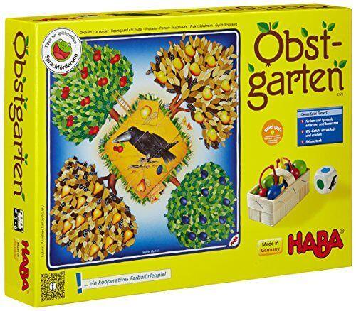 HABA 4170 – Obstgarten und HABA 4460 – Obstgärtchen und Play-Doh 23500 10er HABA 4170 – Obstgarten Knackige Kirschen, saftige Äpfel, süße Birnen und herrliche Pflaumen hängen reif an den Bäumen. Das weiß auch der freche Rabe. Doch bevor dieser zuschlägt, heißt es schnell abernten. Ein kooperatives Spiel für 2 – 8 Kinder von 3 …
